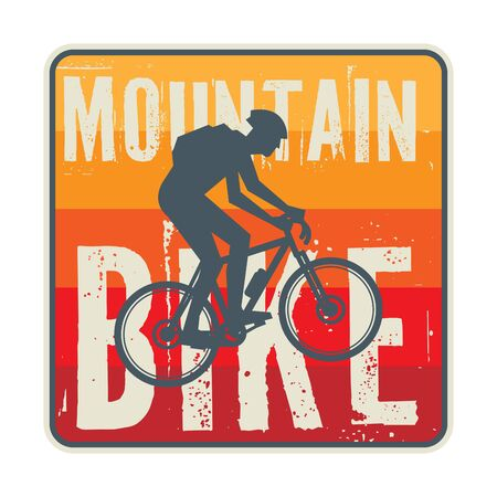 Downhill, mountain biking badge, logo, label with rider silhouette. Downhill, enduro, cross-country biking, vector illustration
