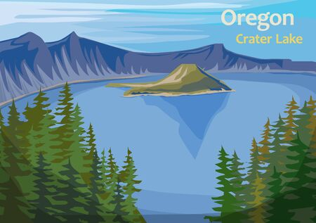Crater Lake, crater lake in south-central Oregon in the western United State, vector illustration Ilustração Vetorial