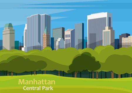 Central Park. Urban park in Manhattan, New York City, United States, vector illustration