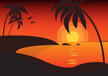 Palm trees silhouettes background. Tropical nature in sunset. Nature background. Vintage red sunset background. Travel lifestyle background, vector illustration