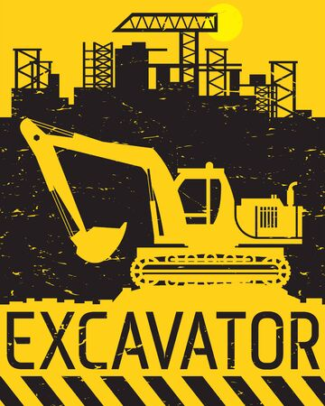 Yellow excavator work on construction site, abstract flat vector illustration