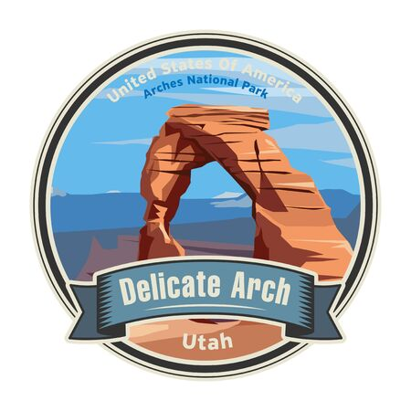 Delicate Arch in Arches National Park, Utah, United States. Vector illustration 向量圖像