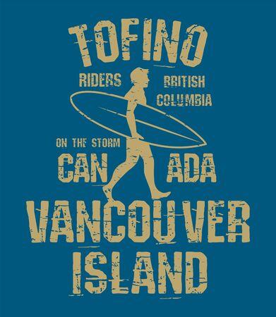 Tofino, British Columbia - surfer sticker, stamp or t-shirt design, vector illustration