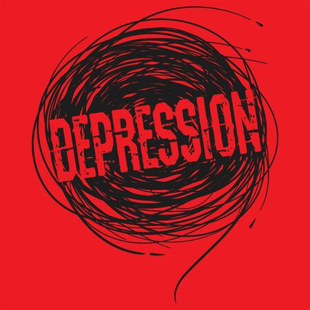 Depressed, psychological disease concept art with dots and lines, vector illustration