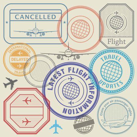 Travel vacations cancelled because of pandemic of coronavirus, travel stamps set, vector illustration Vektorgrafik