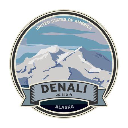 Denali peak at Denali National Park in Alaska. Vector illustration
