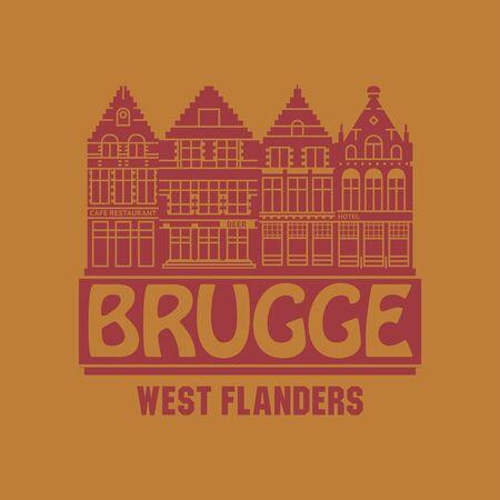 Market square buildings and the words Brugge, West Flanders, written inside, vector illustration Vector Illustration