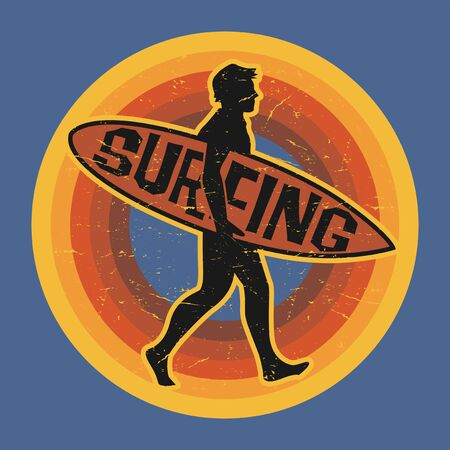 Surfer sticker, stamp or sign design, vector illustration