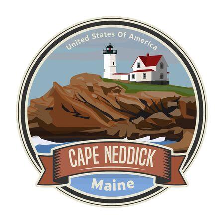 The Cape Neddick Light in Cape Neddick, York, Maine, United States. Vector illustration  イラスト・ベクター素材