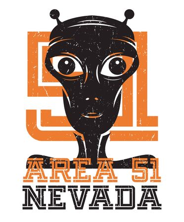 Area 51 UFO activity area sign or symbol, vector illustration