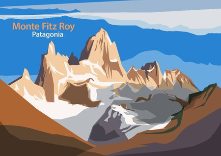 Monte Fitz Roy is a mountain in Patagonia, on the border between Argentina and Chile, vector illustration