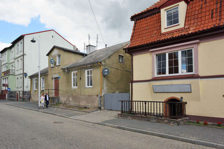 Mikolajki, Poland, July 12: Street of Old Town on July 12, 2020 at Mikolajki, Poland. Mikolajki is a resort town in the Warmian-Masurian Voivodeship in north-eastern Poland.