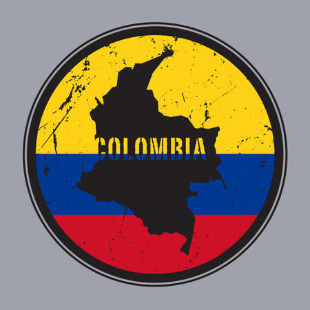 Stamp or vintage emblem with Colombia map and flag, vector illustration