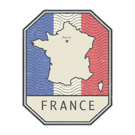 Grunge rubber stamp with the name and map of France, vector illustration