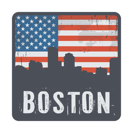 Stamp or label with name of Boston, Massachusetts, USA, vector illustration 向量圖像