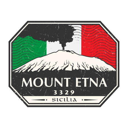 Mount Etna Volcano with smoke in Sicily island, Italy, Europe. Vector illustration