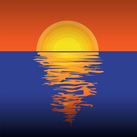 Beautiful sunset or sunrise, vector illustration