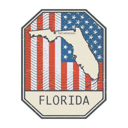 Stamp or sign with the name and map of Florida, United States, vector illustration