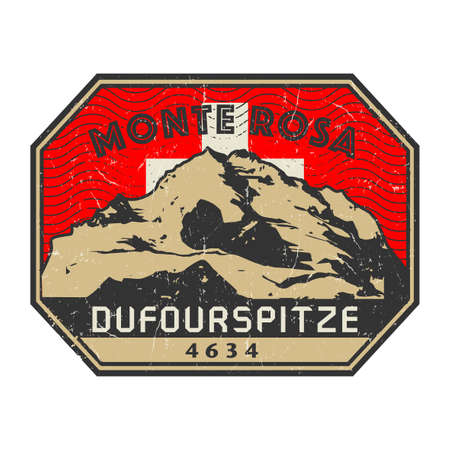 Post stamp with the Dufourspitze, second-highest mountain of the Alps and Europe, Adventure outdoor, Expedition mountain, vector illustration