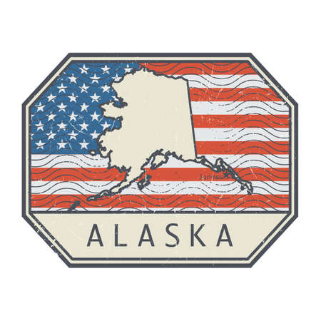 Stamp or sign with the name and map of Alaska, United States, vector illustration Vecteurs