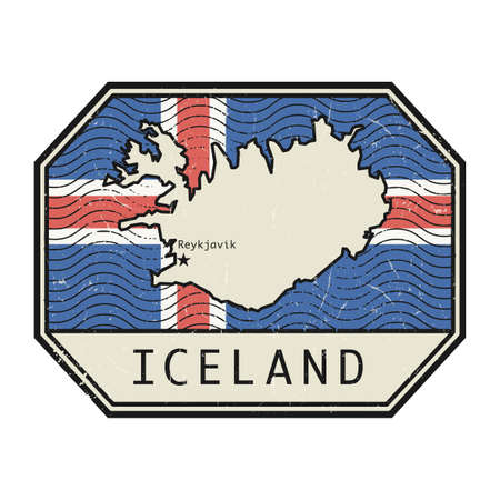 Post Stamp with the map, flag and name of Iceland, vector illustration