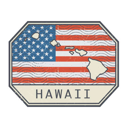 Stamp or sign with the name and map of Hawaii, United States, vector illustration