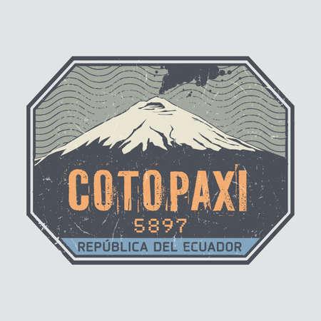 Stamp or label with words Cotopaxi Volcano, Ecuador, vector illustration