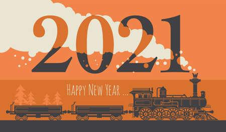 New Year card with a vintage steam locomotive train. Vector illustration Ilustracje wektorowe
