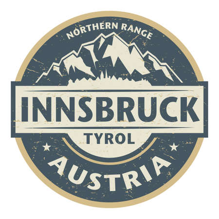 Innsbruck is the capital city of Tyrol and fifth-largest city in Austria, vector illustration