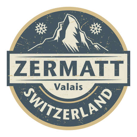 Zermatt is a municipality in the district of Visp in the German-speaking section of the canton of Valais in Switzerland, vector illustration