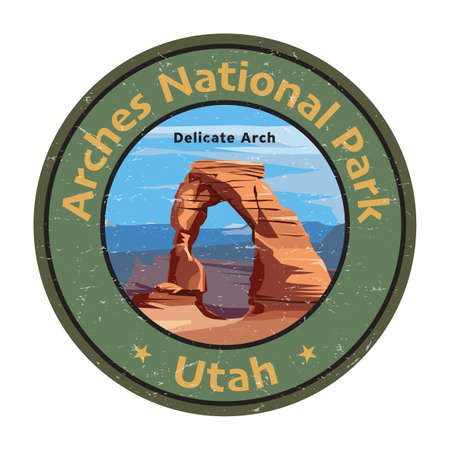 Delicate Arch in Arches National Park, Utah, United States. Vector illustration. Vector illustration 向量圖像