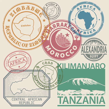 Stamps set with the names and maps of Africa countries, inside the stamp, vector illustration