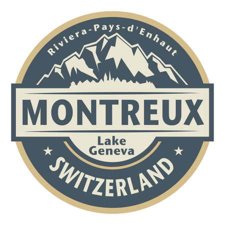 Montreux is a municipality and a Swiss town on the shoreline of Lake Geneva at the foot of the Alps, vector illustration