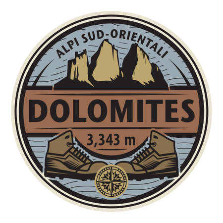 The Dolomites are a mountain range located in northeastern Italy, Europe, vector illustration