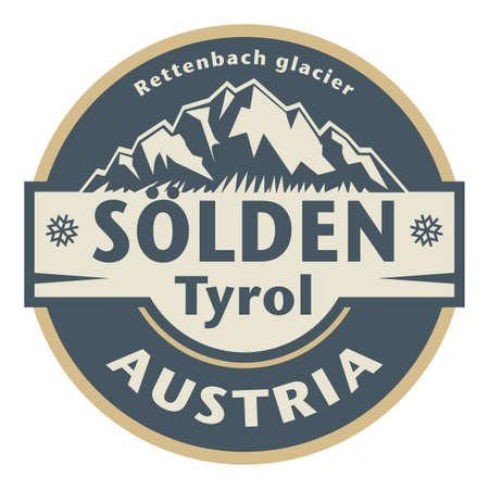 Solden is an Alpine resort in the Otztal Valley, in the Austrian state of Tyrol, vector illustration