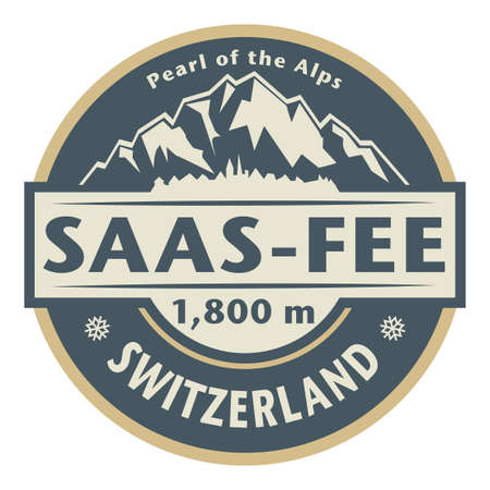 Saas-Fee is the main village in the Saastal, or the Saas Valley, Switzerland. Vector illustration