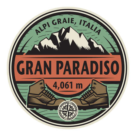 The Gran Paradiso or Grand Paradis is a mountain in the Graian Alps in Italy. Vector illustration