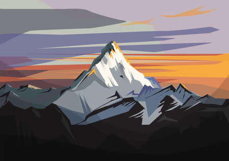 Landscape of Alps - highest and most extensive mountain range system that lies entirely in Europe, vector illustration