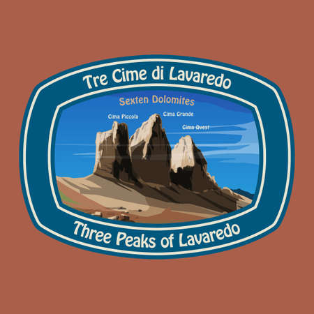 Mount Three Peaks (Tre Cime di Lavaredo) - peaks in the Dolomites of northeastern Italy. Mountain adventure background, vector illustration