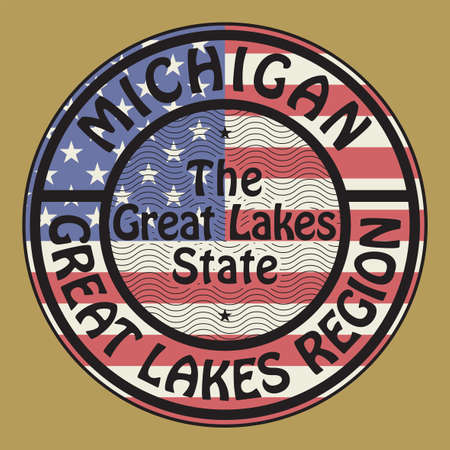 Stamp or sign with USA Flag the name of Michigan, United States, vector illustration 矢量图像
