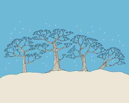 Hand-drawn illustration. Abstract winter landscape, white tree, vector illustration Иллюстрация