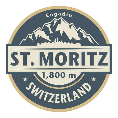 St. Moritz is a high Alpine resort town in the Engadine in Switzerland, at an elevation of about 1,800 metres (5,910 ft) above sea level, vector illustration