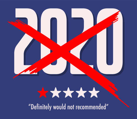 2020 One Star Rating - Would Not Recommend, vector illustration Иллюстрация