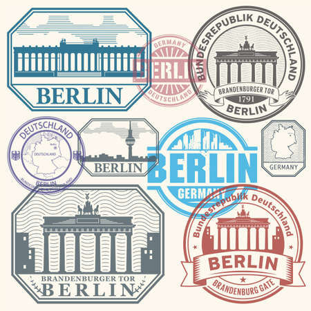 Stamps set with Brandenburg gate and the words Berlin, Republic of Germany (on german language) written inside, vector illustration