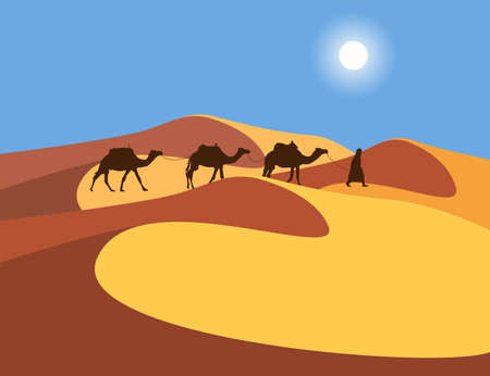 Lonely Arabic man with camels on sand dunes in the Sahara Desert, abstract vector illustration
