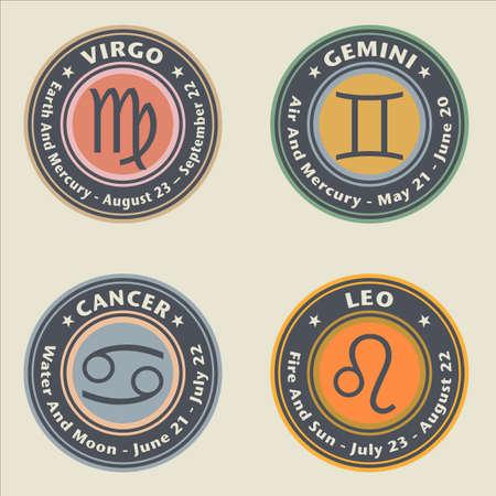 Zodiac signs. Virgo, GEmini. Cancer and Leo - vector illustration