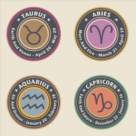 Zodiac signs. Taurus, Capricorn. Aries and Aquarius - vector illustration Иллюстрация