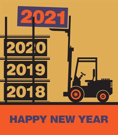 Happy New Year greeting card 2021 - fork lift truck at work, vector illustration Иллюстрация