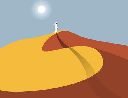 Lonely Arabic man in sand dunes in the Sahara Desert, abstract vector illustration Иллюстрация