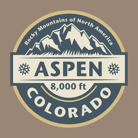 Aspen, in Colorado's Rocky Mountains, is a ski resort town and year-round destination for outdoor recreation. Vector illustration